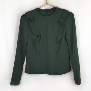 Zara Woman Dark Green Ruffle Long Sleeve Shirt